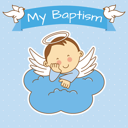 Angel wings on a cloud. boy baptism