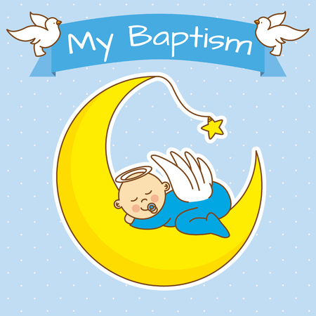 background card: angel baby sleeping on the moon. boy baptism Illustration
