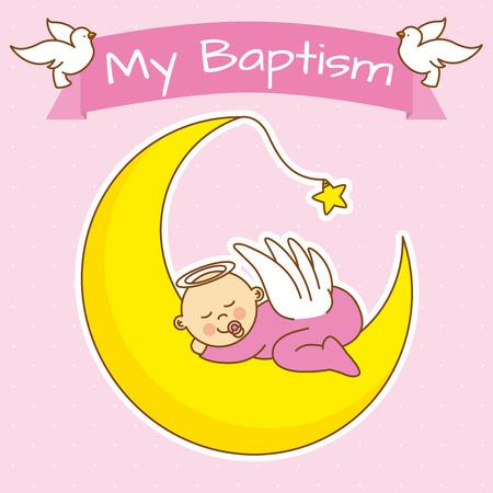 postcard background: angel baby sleeping on the moon. girl baptism