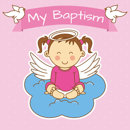 Angel wings on a cloud. girl baptism Vectores