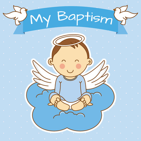 Angel wings on a cloud. boy baptism