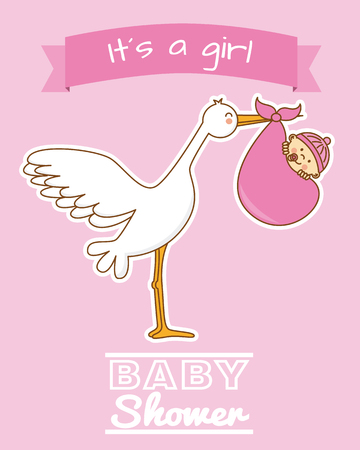 pink girl: baby shower girl. stork and baby.