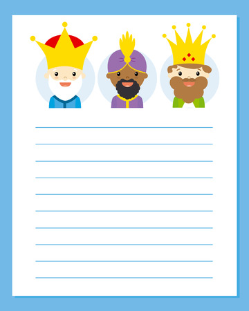 three kings: the three kings of orient. Letter Illustration