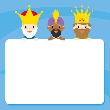 de drie koningen van Orient. Brief Vector Illustratie