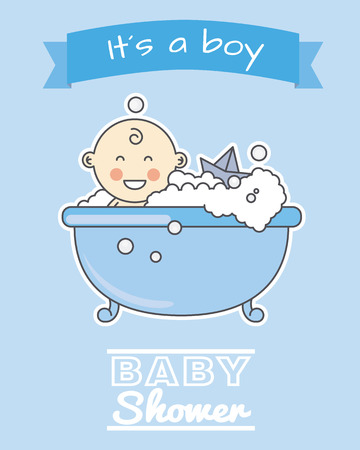 boy bath: baby shower card. smiling baby boy in bath