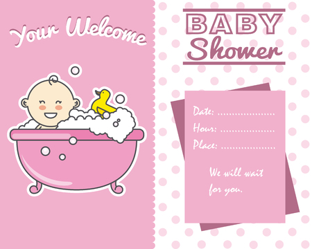baby bath: baby shower card. smiling baby girl in bath Illustration