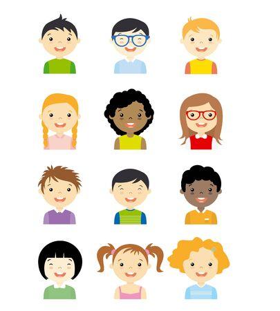 boy with glasses: avatar children set