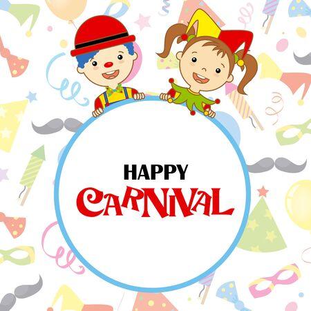 Kostüm-Party-Karte. Harlekin und Clown mit Plakat.