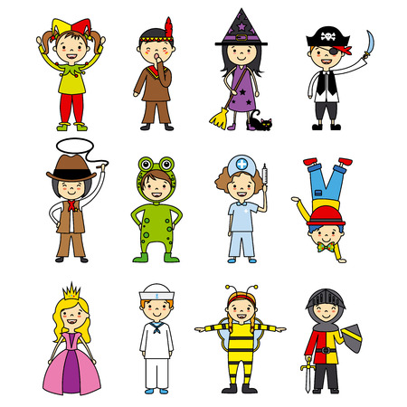 costumed children set Vectores