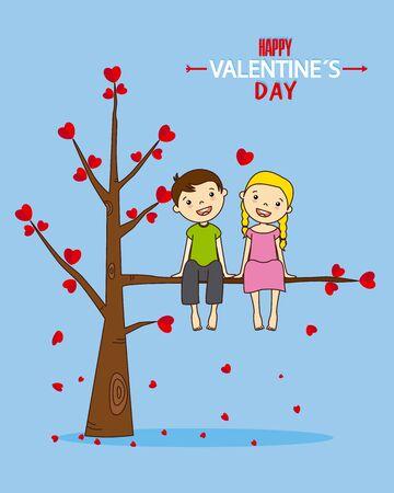 amor adolescente: Amor de cachorros. tarjeta de San Valentín Vectores