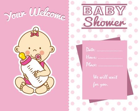 bébé carte de douche. fille bébé avec un biberon