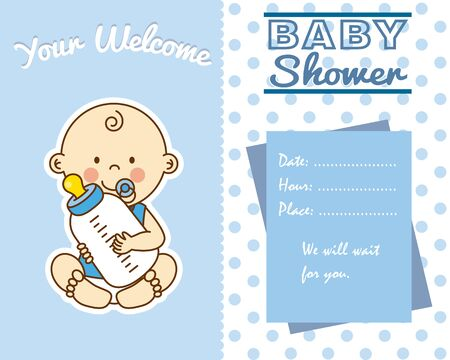 baby shower card. baby boy with baby bottle
