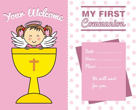 cristianismo: Tarjeta de la muchacha primer Communion Vectores