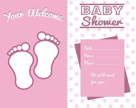 baby girl: baby girl shower card. baby foot