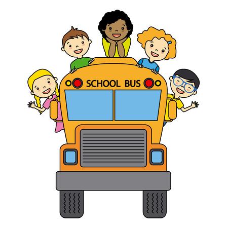 transporte escolar: autobús escolar con los estudiantes