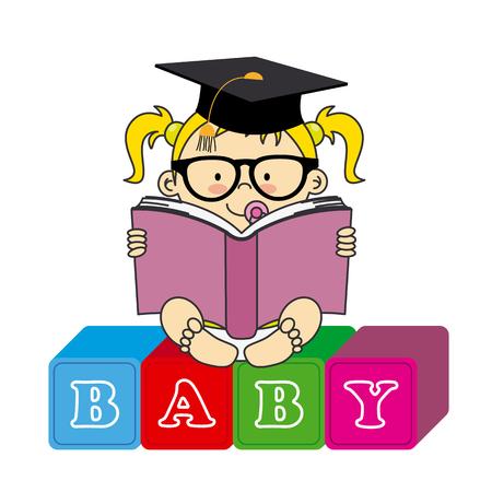 graduacion niños: Bebé con el libro Vectores