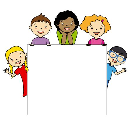 white poster: Children holding board. space for text or photo Illustration