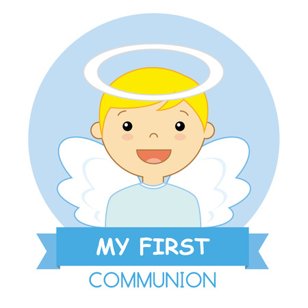 baby boy announcement: Angel Boy. my first communion