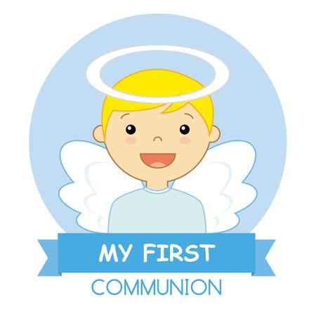 children background: Angel Boy. my first communion