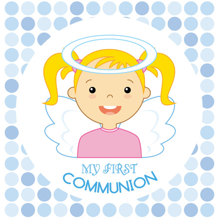 baby boy announcement: Angel girl. my first communion