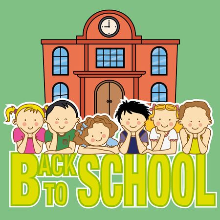 peers: back to school card. school and children Illustration