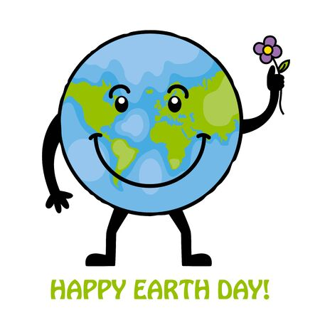 bio safety: happy earth day. globe with flower