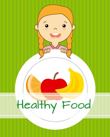 gezond eten. meisje met fruit