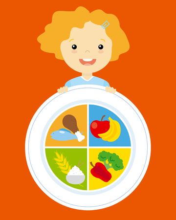 chicken rice: healthy food. girl with fruit