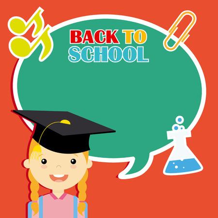 graduacion niños: chica con iconos de la educación. espacio para texto
