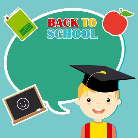 graduacion ni�os: ni�o con iconos de educaci�n. espacio para texto