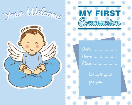 angeles bebe: Niño de comunión. espacio para texto Vectores