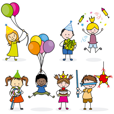 children party: children set party Illustration