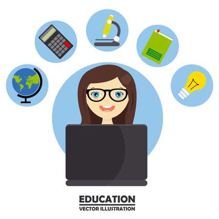 studying computer: girl studying on computer Illustration