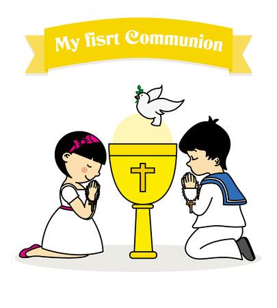 Meine erste Kommunion. Jungen und Mädchen beten zusammen mit einem Kelch Standard-Bild - 54420959
