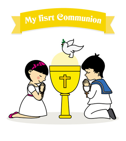 my first communion. Boy and girl praying together with a calyx