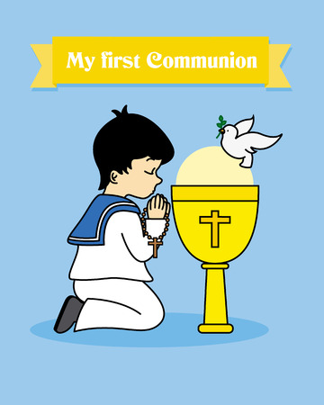 calyx: my first communion card. Boy praying together with a calyx Illustration
