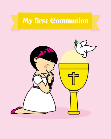 praying together: my first communion card. girl praying together with a calyx