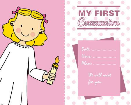 christening: Girl First Communion card