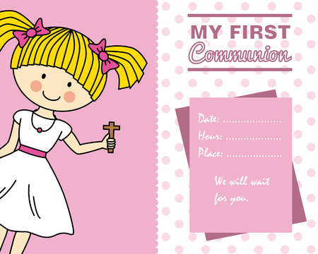 christianity: Girl First Communion card