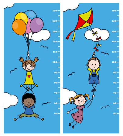 balloon girl: meter wall. children holding balloons and a kite