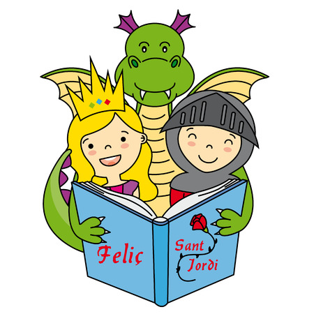 reading a book: Dragon, warrior and Princess. Sant Jordi Illustration