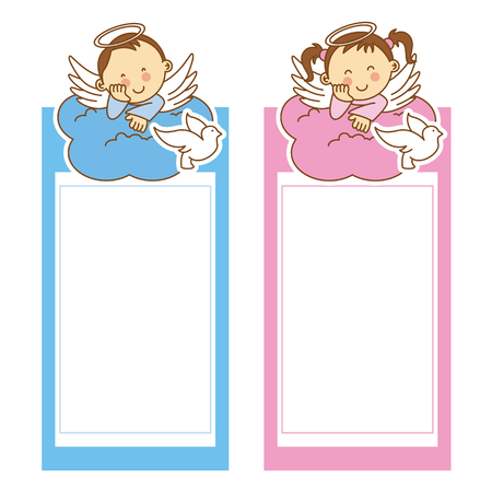 christening: christening girl and boy. space for text