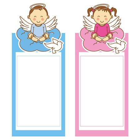 niña y niño de bautizo. espacio para texto