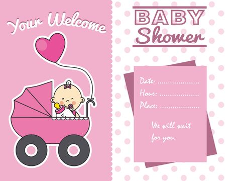 baby girl: baby shower card. baby girl