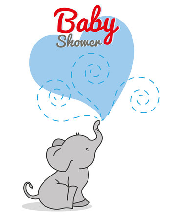 baby boy: baby shower. cute elephant Illustration