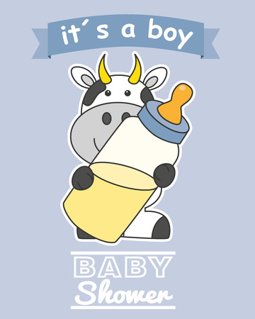 Baby-Dusche-Karte. Kuh mit Babyflasche