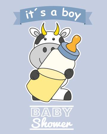 garçon bébé carte de douche. Vache avec biberon