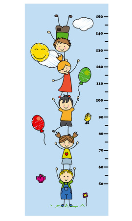 wall decoration: meter wall. children playing Illustration