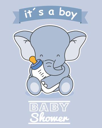 baby jongen douche-kaart. Olifant met zuigfles