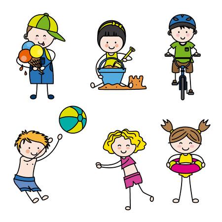 kid drawing: summer children set